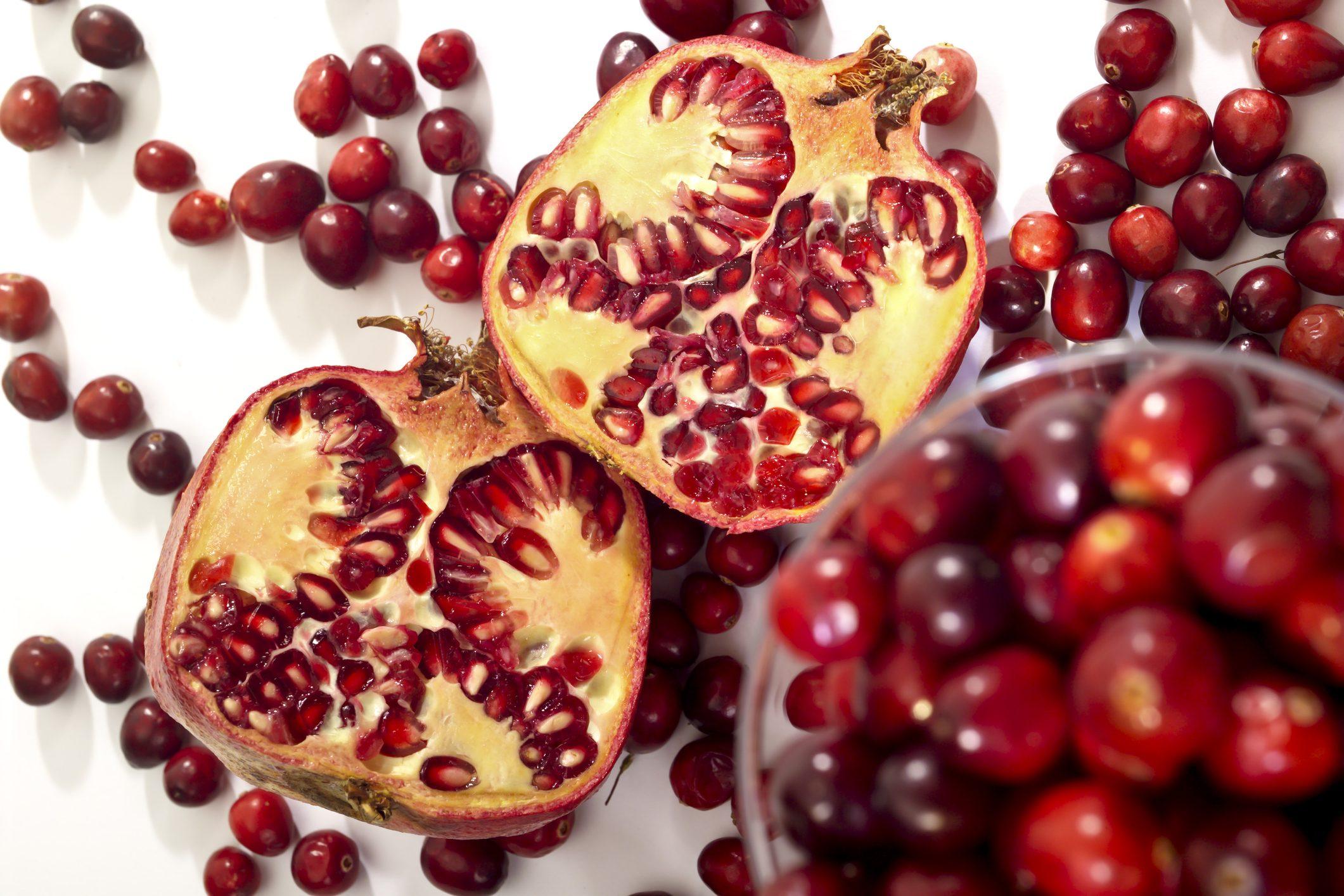 Pomegranates and cranberries
